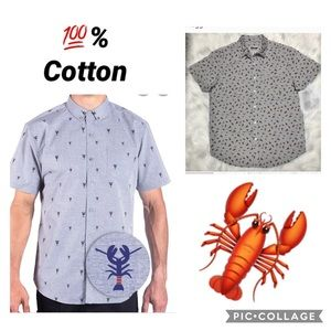 M- Plugg Lobster Button Front, Short Sleeve Shirt
